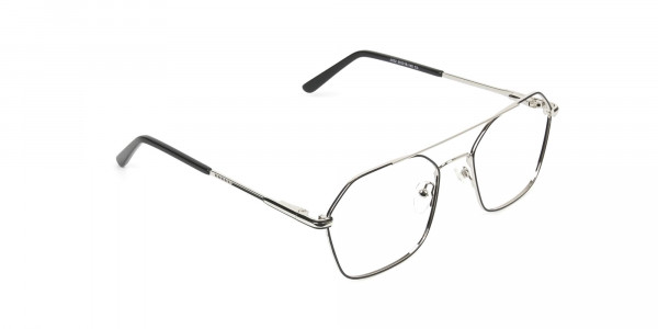 Geometric Aviator Black & Silver Spectacles - 2