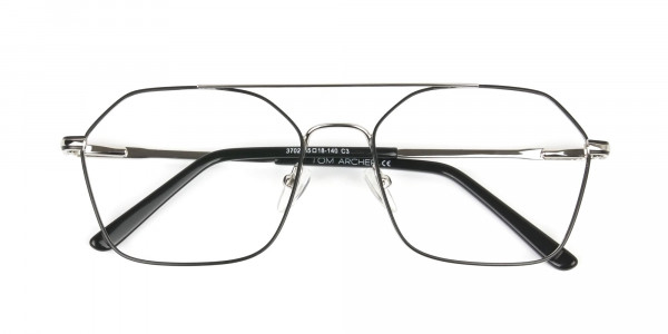 Geometric Aviator Black & Silver Spectacles - 6