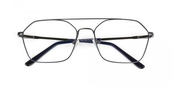 Geometric Aviator Dark Grey Gunmetal Spectacles - 6