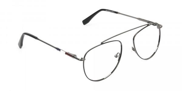 Silver & Dark Navy Thin Metal Aviator Frame Glasses - 2