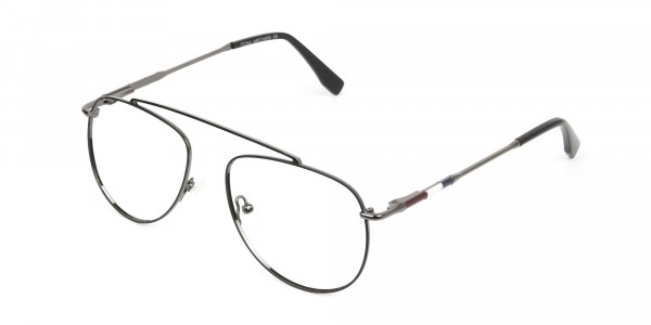 Silver & Dark Navy Thin Metal Aviator Frame Glasses - 3
