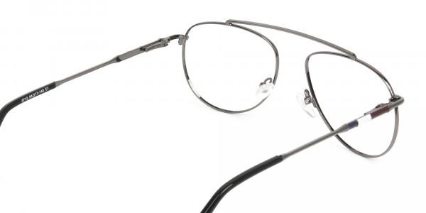 Silver & Dark Navy Thin Metal Aviator Frame Glasses - 5