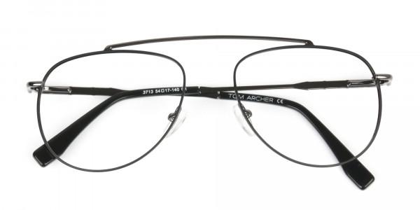 Silver & Dark Navy Thin Metal Aviator Frame Glasses - 6