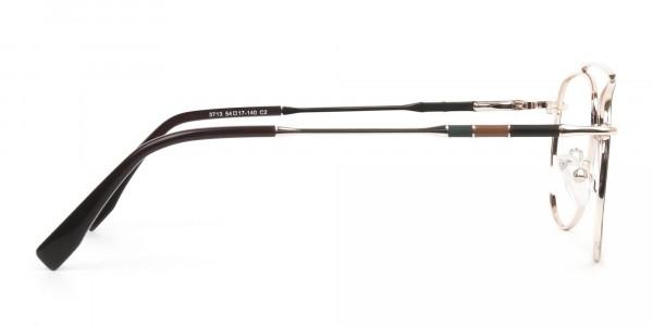 Gold & Brown Thin Metal Aviator Glasses - 4