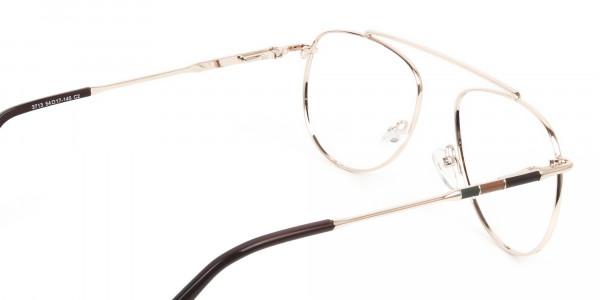 Gold & Brown Thin Metal Aviator Glasses - 5