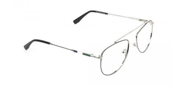 Silver & Dark Green Aviator Glasses - 2