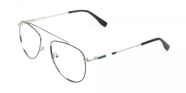 Silver & Dark Green Aviator Glasses - 3