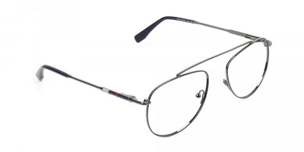 Gunmetal & Dark Navy Thin Metal Aviator Glasses - 2