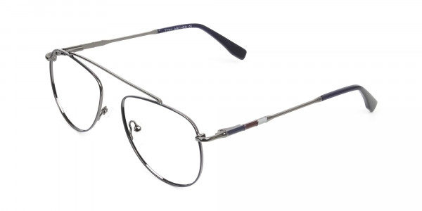 Gunmetal & Dark Navy Thin Metal Aviator Glasses - 3