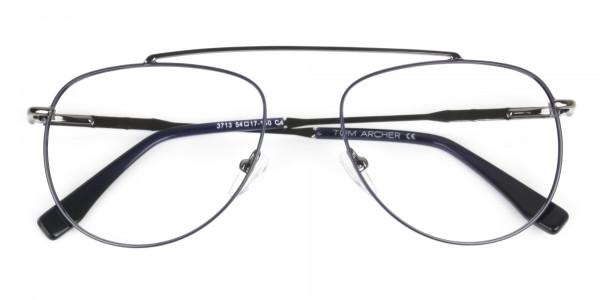Gunmetal & Dark Navy Thin Metal Aviator Glasses - 6