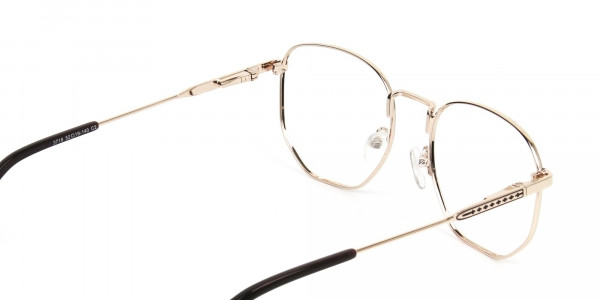 Geometric Brown & Gold Spectacles - 5
