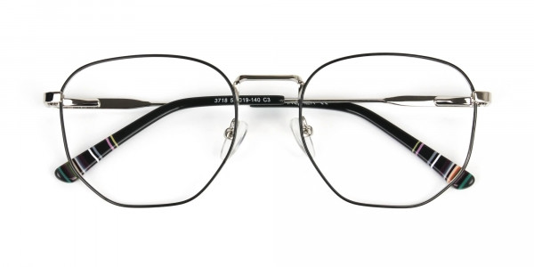 Geometric Black & Silver Spectacles - 6