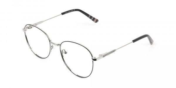 Black & Silver Weightless Metal Round Glasses - 3