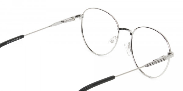 Black & Silver Weightless Metal Round Glasses - 5