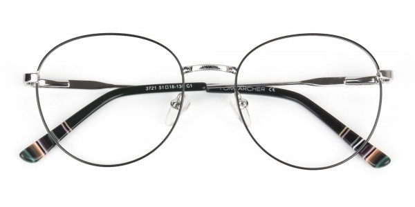 Black & Silver Weightless Metal Round Glasses - 6