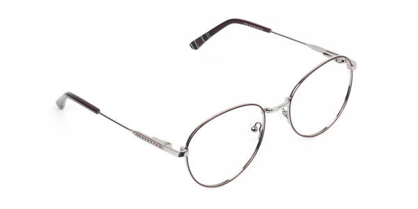 Metal Weightless Round Glasses Burgundy and Silver- - 2