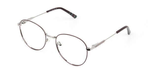 Metal Weightless Round Glasses Burgundy and Silver -- 3