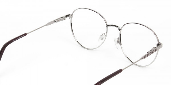Metal Weightless Round Glasses Burgundy and Silver- - 5
