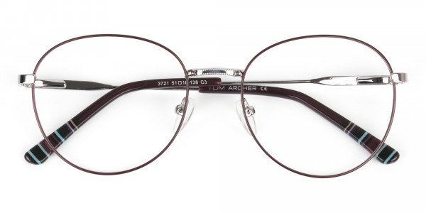 Metal Weightless Round Glasses Burgundy and Silver -- 6