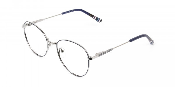 Navy Blue Silver Weightless Metal Round Glasses - 3