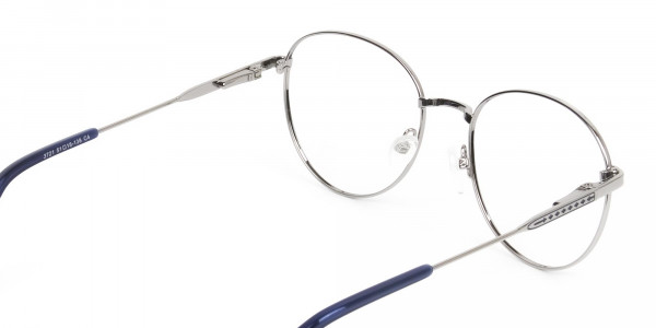 Navy Blue Silver Weightless Metal Round Glasses - 5