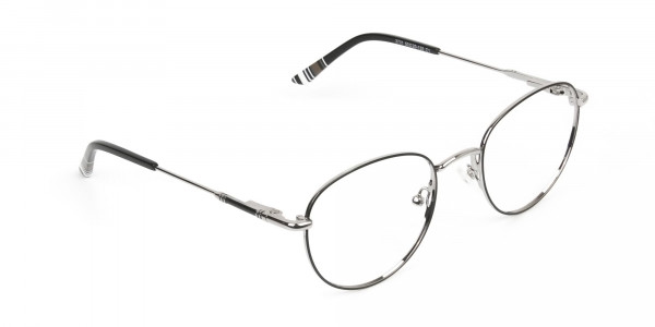 Lightweight Black & Silver Round Spectacles  - 2
