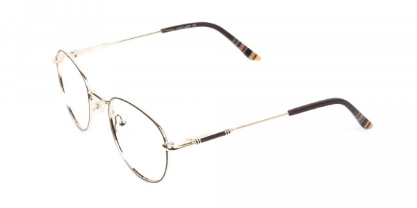 Lightweight Gold  & Brown Round Spectacles - 3