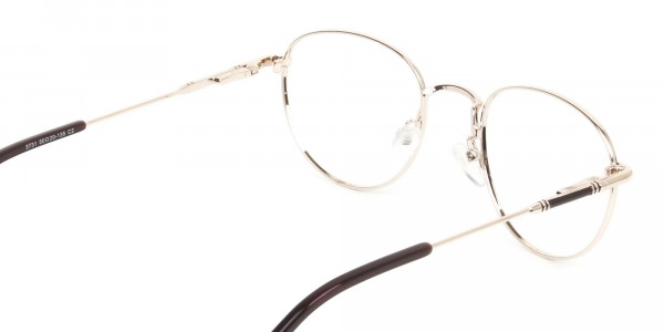 Lightweight Gold  & Brown Round Spectacles - 5
