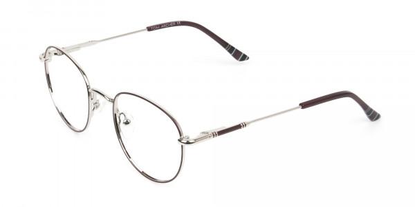 Lightweight Burgundy & Silver Round Spectacles - 3