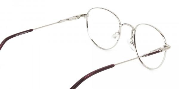 Lightweight Burgundy & Silver Round Spectacles - 5