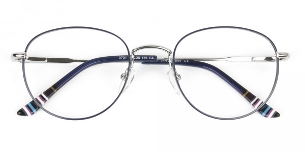 Lightweight Silver & Royal Blue Round Spectacles - 6