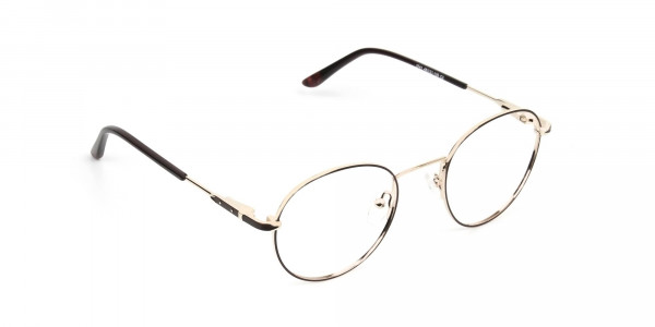 Dark Brown Gold Metal Frame Spectacles - 2