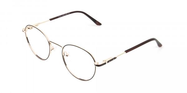 Dark Brown Gold Metal Frame Spectacles - 3