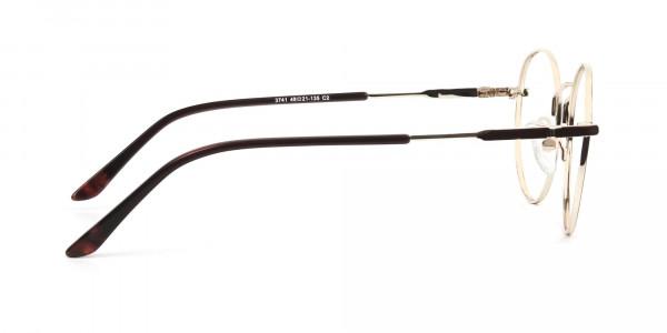Dark Brown Gold Metal Frame Spectacles - 4
