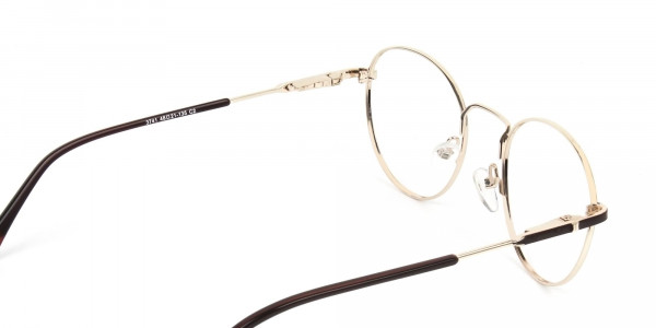 Dark Brown Gold Metal Frame Spectacles - 5