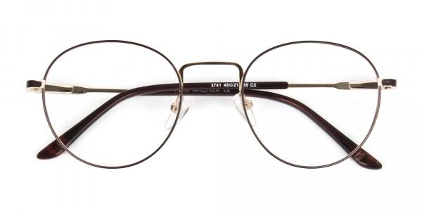 Dark Brown Gold Metal Frame Spectacles - 6