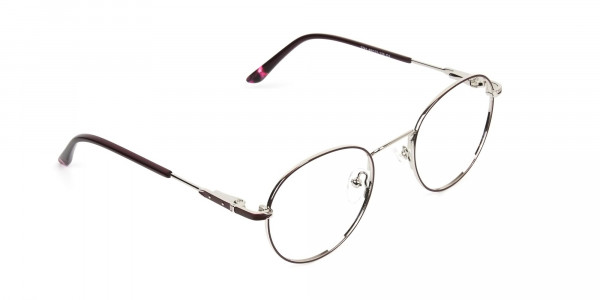 Silver, Burgundy & Purple Round Spectacles - 2