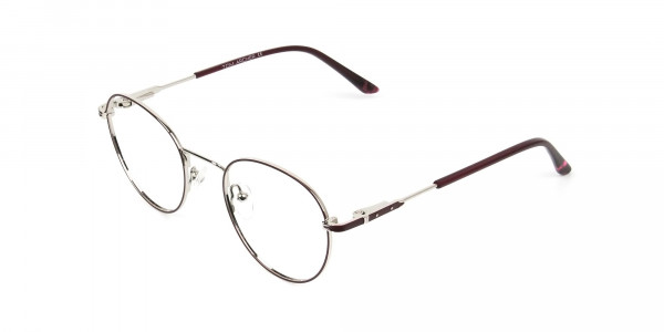 Silver, Burgundy & Purple Round Spectacles - 3