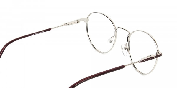 Silver, Burgundy & Purple Round Spectacles - 5