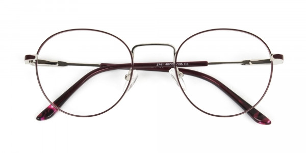 Silver, Burgundy & Purple Round Spectacles - 6