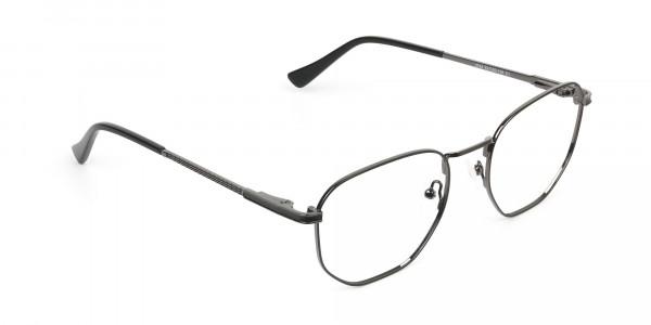 Lightweight Gunmetal Black Geometric Glasses - 2
