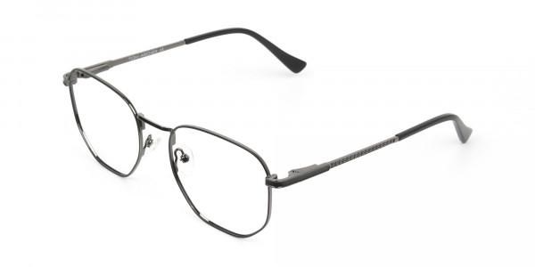 Lightweight Gunmetal Black Geometric Glasses - 3