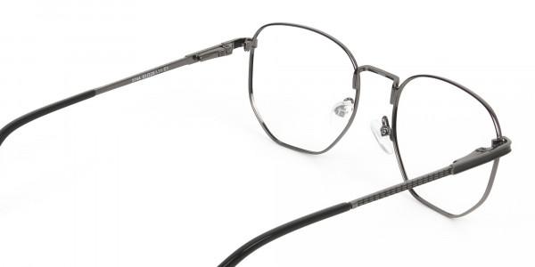 Lightweight Gunmetal Black Geometric Glasses - 5