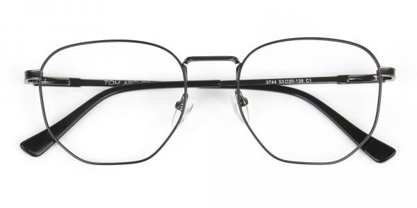 Lightweight Gunmetal Black Geometric Glasses - 6