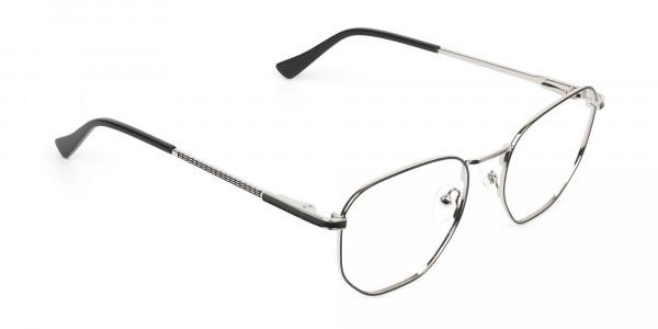 Lightweight Black & Silver Geometric Glasses - 2