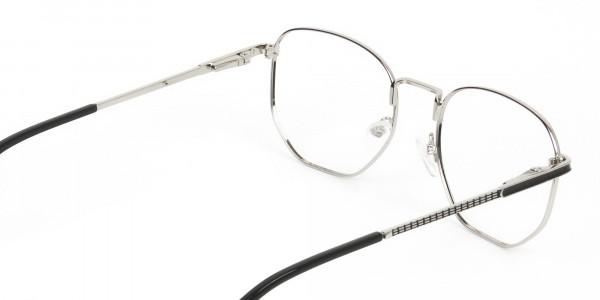 Lightweight Black & Silver Geometric Glasses - 5