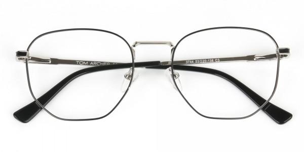 Lightweight Black & Silver Geometric Glasses - 6