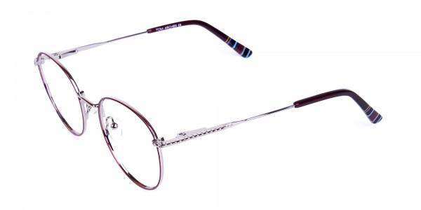 Burgundy-Silver-Round-Full-Rim-Glasses-3