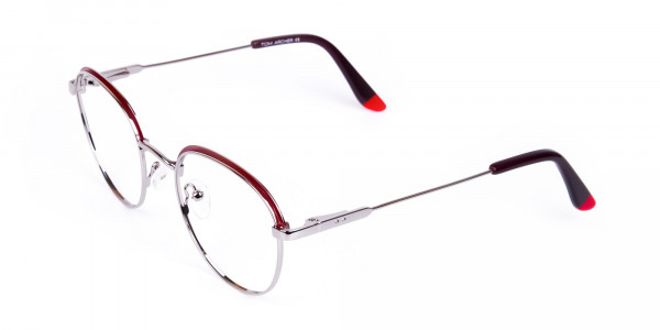 Burgundy-Silver-Round-Aviator-Glasses-3