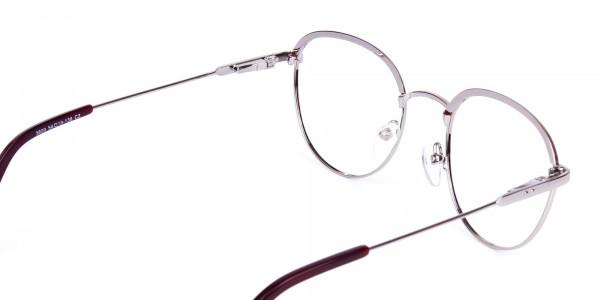 Burgundy-Silver-Round-Aviator-Glasses-5